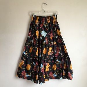 VTG Western Cowgirl Tiered Midi Skirt Small
